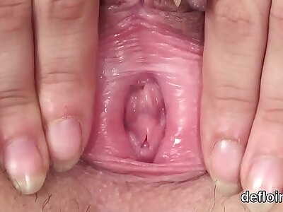 Assault sexually be fitting of fleshly sweetie tight pussy with an increment of polishing